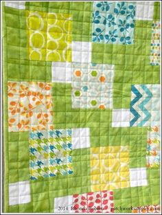 Print Charms + plain for D9P baby quilt