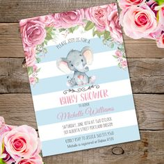 New in our collection the cute elephant baby shower invitation. Invite your guests with this lovely invitation.