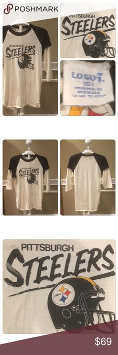 Vintage 70s Raglan Steelers Shirt. Vintage Raglan Steelers Shirt. Printed on a Logo7 50-50 poly cotton three-quarter sleeve T-shirt . Paper thin ! No holes stains rips or tears .. slight fading gives it , its awesome vintage appeal. Tag Reads L best for small thru Large depending on desired fit ... feel free to ask for measurements Vintage Tops Tees - Long Sleeve