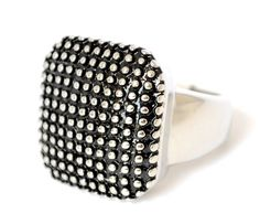 Ladies Chunky Cocktail Silver Ring Square 7.5 Black Dot Stainless Steel Size 7 O