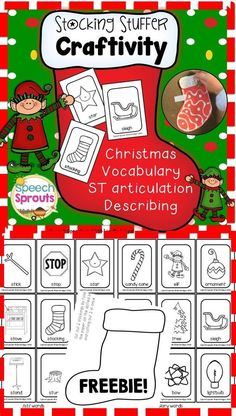 FREE Stocking Stuffer Craftivity for speech therapy! Decorate this cute stocking, then stuff the pocket with the included cards. Teach Christmas vocabulary, describing, phonological awareness and articulation of /st/ blends. Merry Christmas from Art Therapy Activities, Speech Therapy Activities, Speech Language Pathology, Language Activities, Speech And Language, Therapy Ideas, Language Arts, Christmas Speech Therapy, Articulation Therapy