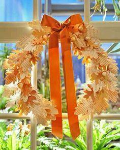 Autumn paper leaf wreath.