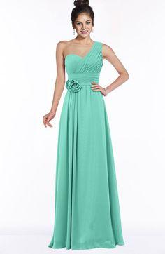 eff09a20317 Mint Green Modern Sleeveless Zip up Chiffon Floor Length Flower Bridesmaid  Dresses Mint Green Bridesmaid Dresses