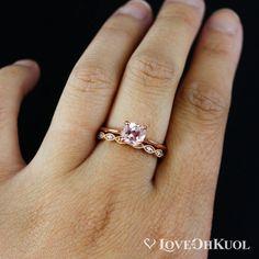 Cushion Cut Peach Shire Engagement Ring Pink