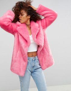 ASOS Pink Faux Fur Coat - Pink