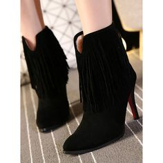 Black Suedette Fringed Heeled Ankle Boots ($70) ❤ liked on Polyvore featuring shoes, boots, ankle booties, ankle boots, black fringe bootie, black bootie boots, fringe bootie and black booties