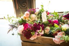 Rustic box with bridesmaids bouquets in burgundy, blush and pinks (wedding) venue: Burdoc Farms photo: Eden and Archer photography flowers: Hello Buttercup Flowers Growing Flowers, Cut Flowers, Bridesmaid Bouquet, Bridesmaids, Farm Photo, Photography Flowers, Flower Farm, Buttercup, Archer