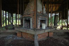 Candler County GA Abandoned Vernacular Farmhouse Four Sided Chimney Fireplaces Utilitarian Picture Image Photo © Brian Brown Vanishing South Georgia USA 2012