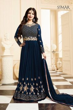 Stunning anarkali gown will give you very smart and dashing look on your special day.
