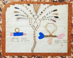 Antique American Folk Art Love Token With Hair, Heart, Hands and Fraktur-Like Painting