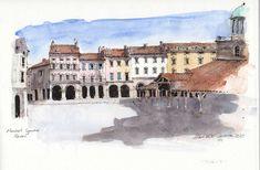 Revel Market Square Pen And Watercolor, Louvre, Painting, Travel, Beautiful, Art, Art Background, Viajes, Painting Art