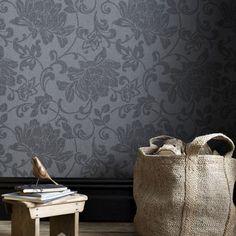 Jacquard Black Wallpaper - Black Floral Wall Coverings by Graham  Brown