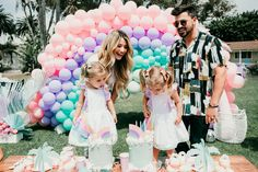 Palm Springs inspired rainbow pastel birthday for twins Twin Birthday Parties, Rainbow Birthday Party, 3rd Birthday, Birthday Celebration, Happy Birthday, Tatum And Oakley, 3 Year Olds, Rainbow Balloons, Cute Twins