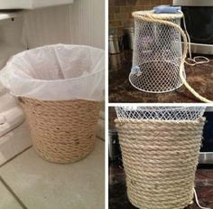 Dollar store crafts and ideas make excellent decor, accessories, activities, and gifts for your homestead. Check out this list of 54 dollar store crafts, then head over to your own dollar store and…Dollar Store Trash Can MakeoverBedroom Decor Ideas Rope Crafts, Fun Diy Crafts, Creative Crafts, Diy Craft Projects, Creative Storage, Craft Ideas, Simple Crafts, Adult Crafts, House Projects