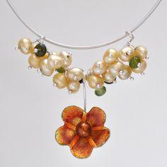Orange Enamel Petal Necklace with Pearls
