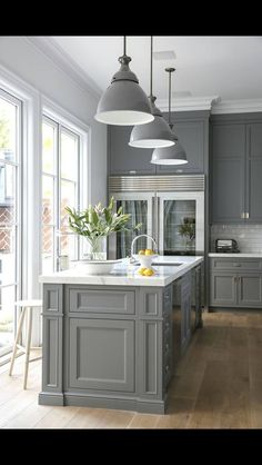 Grey Kitchen - Design photos, ideas and inspiration. Amazing gallery of interior design and decorating ideas of Grey Kitchen in kitchens by elite interior designers. Kitchen Redo, New Kitchen, Kitchen Dining, Kitchen Ideas, Kitchen White, Kitchen Paint, Kitchen Designs, Kitchen Layout, Awesome Kitchen