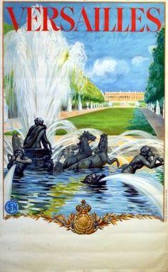 Versailles, France 1930s _________________________ #Vintage #Travel #Poster