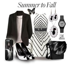 """""""Simple Black & White Summer to Fall"""" by kashmier ❤ liked on Polyvore featuring Trilogy and Halston Heritage"""