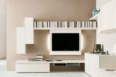 Parete Attrezzata ad angolo 547 - dettaglio area relax con porta TV a parete, basi e pensili contenitore, mensola con alloggiamento per lettore CD e DVD   Napol.it