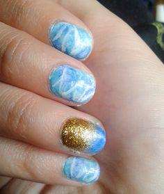 Beach waves nail art
