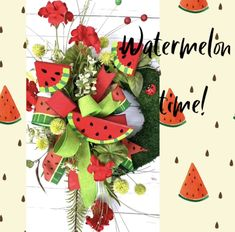 Moss base woth watermelon slices Moss Wreath, Grapevine Wreath, Mount Laurel, Spring Front Door Wreaths, Red Geraniums, Watermelon Slices, Wired Ribbon, Greenery, Christmas Wreaths