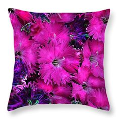 """""""Butterfly Garden 23 - Carnations"""" © E. B. Schmidt. All Rights Reserved. Floral throw pillow. (Available as prints, canvas, metal, and more.) www.ebschmidt.com #art #schmidt #flowers #floralart #carnations"""