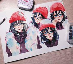 Manga Watercolor, Watercolor Artwork, Arte Do Harry Potter, Character Art, Character Design, Train Art, Arte Sketchbook, Dibujos Cute, Cute Art Styles