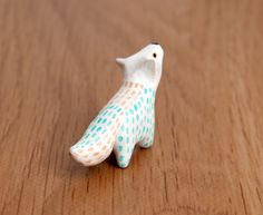 White wolf animal totem Polymer clay animal by LifedanceCreations