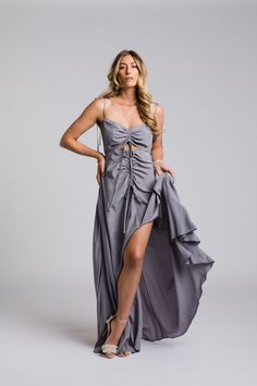 The Viper Gown by Leave Her Wilder. Bridesmaid gowns available online and ship internationally Bridesmaid Gowns, Bridesmaids, Bodice, Wrap Dress, Lace Up, Legs, Viper, Bridal, Ship