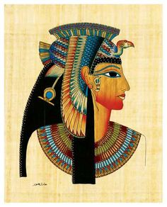 Egyptian Papyrus Painting With Queen Cleopatra Design. 1 Papyrus Painting within the. Very High Quality. It is a real piece of art work from the land of the Pharaohs. Tatto Eagle, Cleopatra Tattoo, Papyrus, Queen Cleopatra, Frida Art, Egyptian Queen, Egyptian Goddess, Egypt Art, Painting Edges