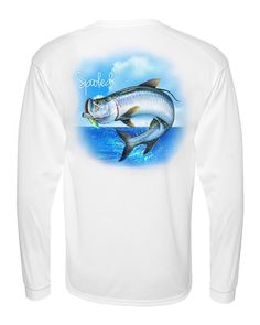 CLEARANCE!!!! PERFORMANCE LONG SLEEVE WHITE WITH SPOOLED TARPON SPF-30 Available at SpooledFishingApparel.com  #spooled #fishing #apparel #tarpon