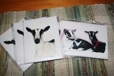 "3 of each Alpine Dairy Goats 4"" x 5.5"" Blank Note Cards and Envelopes by FineArtbyRebeccaProw on Etsy"