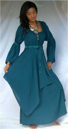 2e8c2e0867e Lagenlook Peasant Renaissance Fayre Long Sleeved Dress