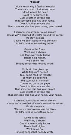 forest twenty one pilots lyrics - Kitchen Sink Lyrics