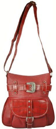 Western Style Faux Leather Cross Body Bag with Moc Croc Trim and Bling Rhinestone Buckle - Messenger Style Purse Available in 3 Colors (Red): Price:	$29.95 [ http://fashion.katalique.com/western-style-faux-leather-cross-body-bag-with-moc-croc-trim-and-bling-rhinestone-buckle-messenger-style-purse-available-in-3-colors-red/ ]
