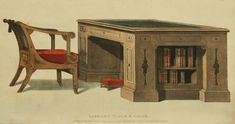 1814 - Library Desk and Chair EKDuncan - My Fanciful Muse: Regency Furniture 1809 Ackermann's Repository Series 1 Furniture Removal, Art Furniture, Furniture Making, Home Library Decor, Library Table, Home Decor, Regency Furniture, Georgian Furniture, Georgian Interiors