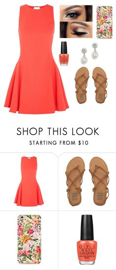 """""""#qbts"""" by brooklynqueen04 ❤ liked on Polyvore featuring Halston Heritage, Billabong, OPI and queensbehindthescreens"""