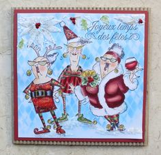 Art Impressions Rubber Stamps: Ai Christmas: Cheers to You (Sku#4664) Reindeer Games Set (Sku#4351) Santa's Helper Eunice ...handmade card.