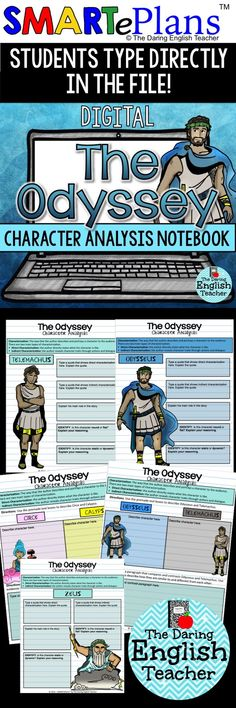 Analyze the characters in Homer's epic poem The Odyssey with this digital character analysis interactive notebook. Ideal for the digital, 1:1 high school English classroom, this resource is engaging, aligned to the common core standards, and compatible with Google Classroom.