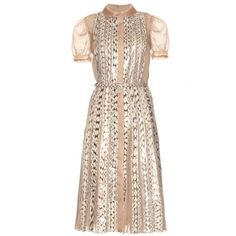 mytheresa.com - Valentino - SILK AND SNAKESKIN BELTED DRESS - Luxury Fashion for Women / Designer clothing, shoes, bags