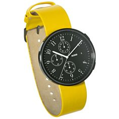 Record Chronograph by Alessi with yellow and purple leather straps. Available at the Dezeen Watch Store: www.dezeenwatchstore.com #watches