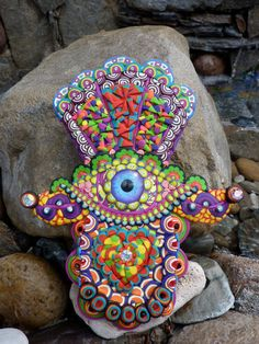 Clay Mosaic Hamsa Good Luck Evil Eye Protection by CrazieHappy, $115.00
