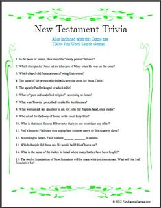 Handy image inside printable kjv bible trivia questions and answers