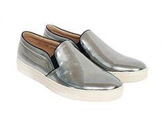 51efbd015e6062 Gentler Men s Handmade Kip Slip On Silver Leather Loafers... https