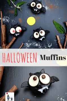 Fledermaus-Muffins! Süße Muffins als leckerer Snack für die Gruselparty! Ein leichtes und leckeres Halloween-Rezept.