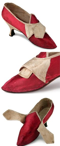 Scarlet red satin shoes, Great Britain, 1775-1785. Red satin, decorated with white satin, tapered Louis heel, Sharp toe, flax lining. All borders are covered with white satin ribbon. Buckles missing. Shoe icons. http://eng.shoe-icons.com/collection/object.htm?id=973