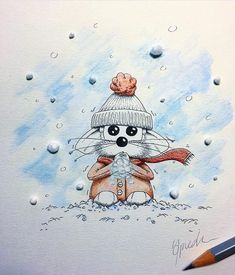 Happy early Winter's days!!! #tb It's raining here in Switzerland but hopefully water will turn into snow super soon... 🙌🏼☃️❄️ Have a great weekend guys!! I'm still busy preparing Christmas markets but soon I will be back with new drawings I promise! 😋🐭 ________________________________________ #apredart #rikiki #snow #wintertime #art #artshub #arts_secret #arts_help #artsyfartsy #arts_gallery #nawden #illustrate #mouse #cartoon #neige #nieve Cute Monsters Drawings, Cute Animal Drawings, Cartoon Drawings, Cute Drawings, Pencil Drawings, Mouse Crafts, Animal Doodles, Arte Disney, Drawing For Kids