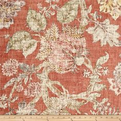 P/Kaufmann Komoda Guava Floral Print Fabric, Floral Prints, P Kaufmann Fabric, Old Room, Custom Cushions, Rust Color, Green Fabric, Fabric Samples, Fabric Swatches