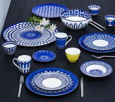 """Bleus d'Ailleurs Bring together daily life and the imagery of travel on your table with a graceful nomadic blue. A story of """"white and blue"""" made up of endless journeys between Europe and the Orient."""