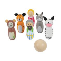Now that Noah has saved all of the animals, it is time for a little game of skittles! This stunning set of 6 skittles including Noah, his wife, a monkey, a cheetah, a rhino and zebra are all just waiting be bowled over using the natural wooden ball. They can also be used as props during story time. Suitable for children aged 3 years+. Available MAY: http://shop.bigjigstoys.co.uk/products/productdetail/Noah+Skittles/part_number=BJ954/12465.0.4.3.1079580.0.0.0.0?pp=20&